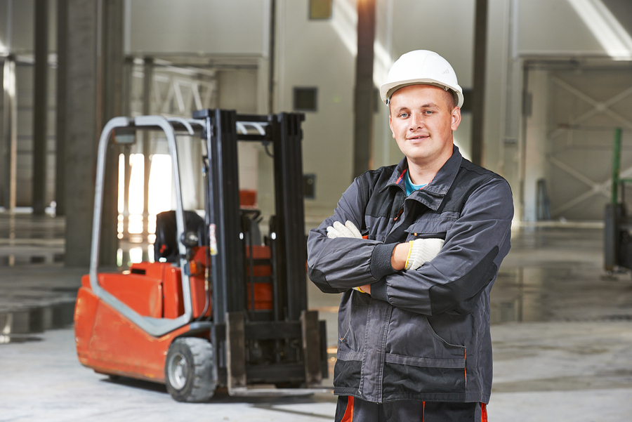 worker with forklift